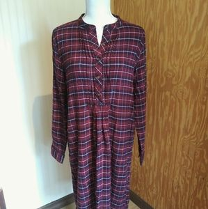 Land's End Plaid Flannel Long Sleeve Dress